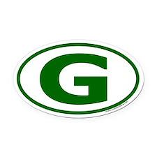 "Green ""G"" Oval Car Oval Car Magnet"