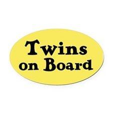 Twins on Board - Oval Car Magnet