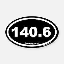 140.6 Swim Bike Run Ironman Black Oval Car Magnet
