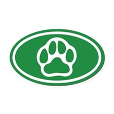 Green Paw Print Oval Car Magnet