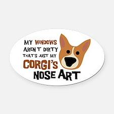Corgi Nose Art Oval Car Magnet