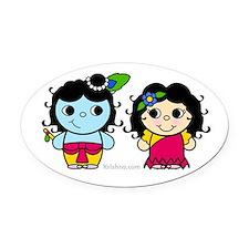 Lil' Radha & Krishna Oval Car Magnet