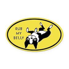 Rub My Belly Boston Terrier Oval Car Magnet