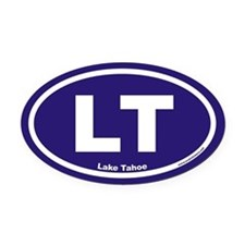 Lake Tahoe LT Euro Oval Car Magnet w/ Blue Backgro