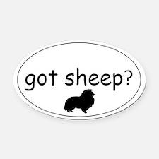 Funny Shetland sheepdog agility Oval Car Magnet