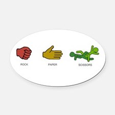 ROCK PAPER SCISSORS Oval Car Magnet