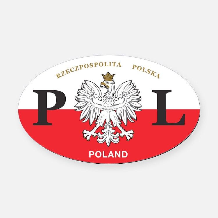 PL Car Decal - Polish Hritage - Oval Car Magnet