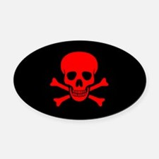 Skull & Crossbones (red) Oval Car Magnet