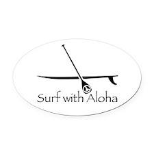 Surf with Aloha Oval Car Magnet
