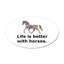 Funny Equine Oval Car Magnet