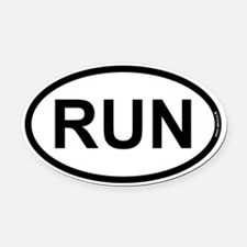 RUN Oval Car Magnet