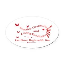 Gratitude and Loving-Kindness Oval Car Magnet
