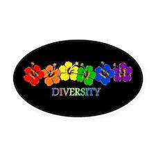 Hibiscus Diversity Oval Car Magnet