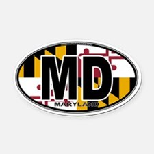 Maryland MD Oval (w/flag) Oval Car Magnet