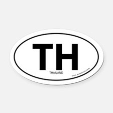 Thailand country bumper Oval Car Magnet -White (Ov