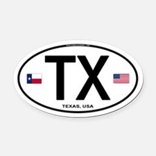 Texas Euro Oval - TX Oval Car Magnet