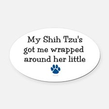 Wrapped Around Her Paw (Shih Tzu) Oval Car Magnet