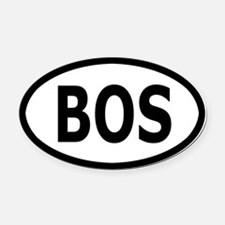 BOS Oval Car Magnet/Decal - White, Black Text