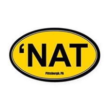 'Nat Oval Car Magnet - Gold