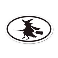 Flying Witch on a Broom Euro Oval Car Magnet