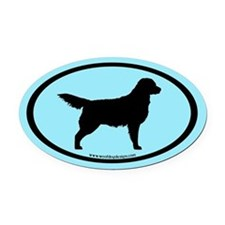 Golden Retriever Oval (blk on blue) Oval Car Magne