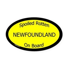 Spoiled Newfoundland On Board Oval Car Magnet