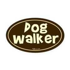 Dog Walker Oval Car Magnet