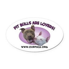 Cute Pit bull rescue Oval Car Magnet