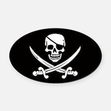 EyeOval Car Magnet Skull & Crossed Swords Oval Car