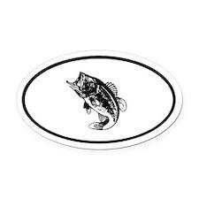 Bass Fishing fisherman Oval Car Magnet