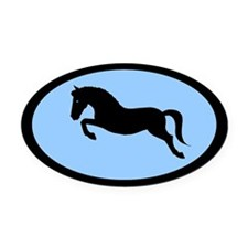 jumping pony (blue, black) Oval Car Magnet