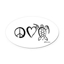Peace, Love & Turtles Oval Car Magnet