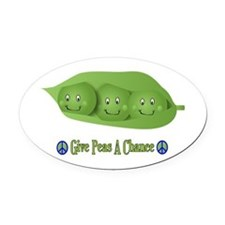 Give Peas A Chance Oval Car Magnet