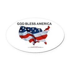 """God Bless America"" Oval Car Magnet"