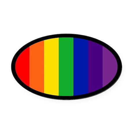 RAINBOW FLAG Oval Car Magnet