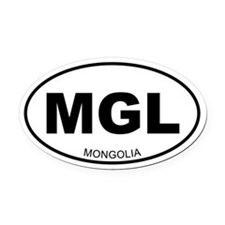 Mongolia Oval Car Magnet