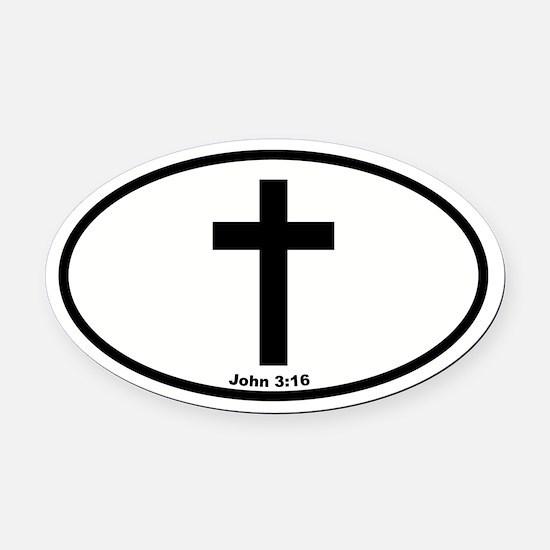 Cross Oval Oval Car Magnet