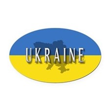 Ukraine Flag Extra Oval Car Magnet