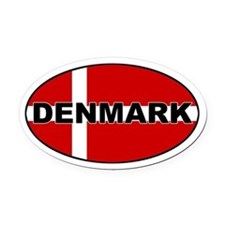 Danish Flag Oval Car Magnet