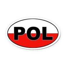 Poland (POL) Flag Oval Car Magnet