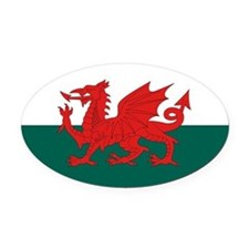 Welsh Flag Oval Car Magnet
