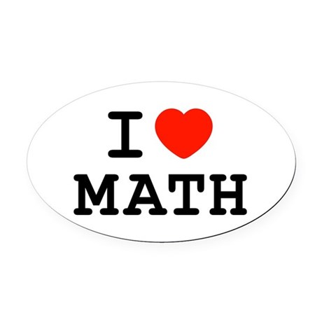 I Heart Math Oval Car Magnet