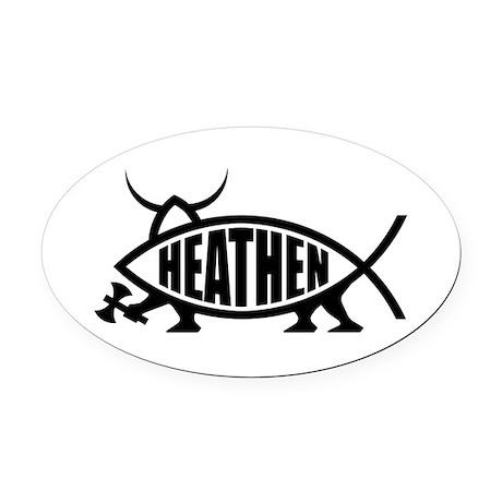 Heathen Fish Oval Car Magnet