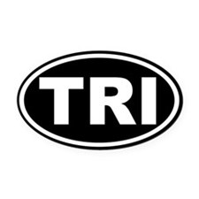 Triathlon TRI Oval Euro Oval Car Magnet Black