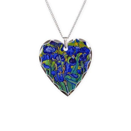 Van Gogh - Irises 1889 Necklace Heart Charm