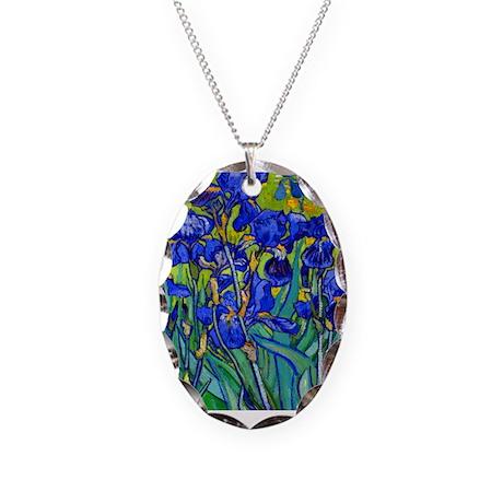 Van Gogh - Irises 1889 Necklace Oval Charm