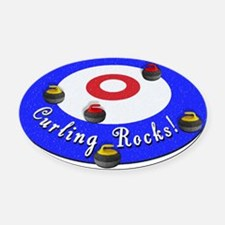 Curling Circle with Rocks Oval Car Magnet