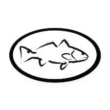 White Redfish Oval Car Magnet