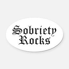 Sobriety Rocks Oval Car Magnet