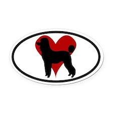 Poodle Love Oval Car Magnet